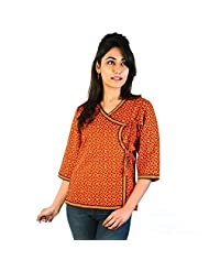 Jaipur RagaDesigner Girls Hand Block Print Red Cotton Top Red Cotton Kurti
