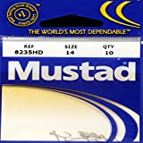Mustad Classic 5 Extra Strong Turned Down Ball Eye Hollow Point Duratin Limerick Hook (Pack Of 10), 14