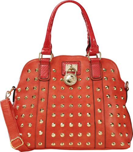 Arcadia Shoulder Fashion Handbag Purse With Round Lock Accessory And Long Strap (Red):Sa4328-Rd