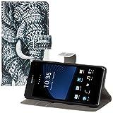 kwmobile® Schicke Wallet Kunstlederhülle für das Sony Xperia Z1 Compact mit praktischer Ständerfunktion - Elefanten Design (Schwarz Weiß)!
