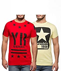 Yo Republic Mens Cotton Tshirt Combo Offer (Pack of 2)(AT-0044-1S_Red_Lemon Yellow_Small)