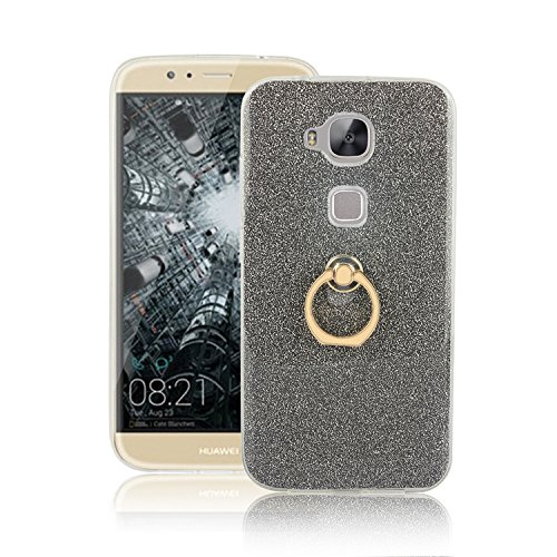 Huawei G8 Case, Ranrou TPU Soft Sparkle Powder Back Cover with 360 Degree Rotating Ring Stent forHuawei G8(Black)