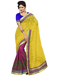 Alethia Yellow & Blue Manipuri Silk & Pure Net Traditional Wear Embroidered Sarees With Unstitched Blouse
