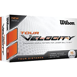 Wilson Tour Velocity Distance Golf Ball (15-Pack), White