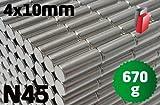 50x Neodym Stabmagnet, 4x10 mm, vernickelt, Grade N45, magnetisiert durch 10mm