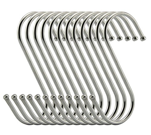 RuiLing Premium S Hooks - S Shaped hook - Heavy Duty Stainless Steel Hanger Hooks - Ideal for hanging pots and pans, plants, utensils, towels etc. Size Large Set of 12 (Pot And Pan Hanging compare prices)