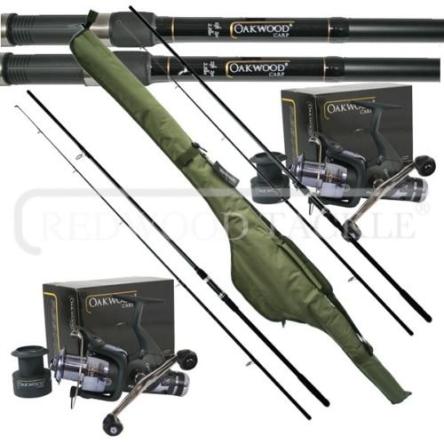 OAKWOOD 12ft 2.5tc Rods x 2 & Double Handle Bait Runner Reel x 2 & Carp holdall, Fishing Set