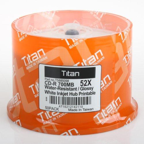 Titan Duplication Grade Water Resistant White Inkjet Metalized Hub Printable 52X Cd-R Media 700Mb 100 Pack In Cake Box (T5885098)