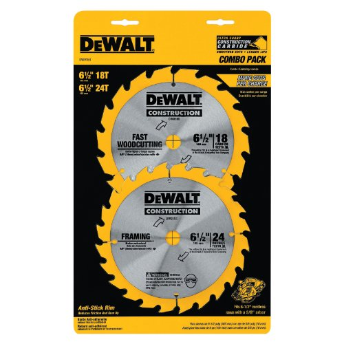 DEWALT DW9158 6-1/2-Inch Cordless Construction Saw-Blade Combo Pack with 18- and 24-Tooth Saw Blades