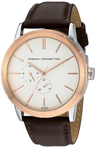 French Connection-Reloj con mecanismo de cuarzo para hombre color blanco esfera analógica pantalla y correa de piel color marrón fc1261trg