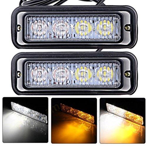 Ouneed® 2pc Camion Accessoire étanche voiture 4 LED Flash stroboscopique Amber Light Lamp Bulb