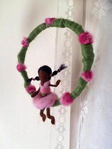 One of a kind needle felted A girl on a hoop mobile.waldorf inspired, (Waldorf Store)