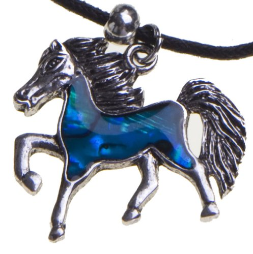 Blue Abalone Shell Horse Pendant Necklace Black Cord Chain Perfect Birthday Gift for Teen Girls Cowgirl