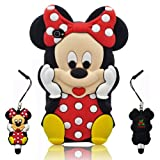 3D Cartoon Mouse Soft Silicone Case Cover + 3D Anti-Plus Minnie Pen for Apple iPhone 4 4S - Red