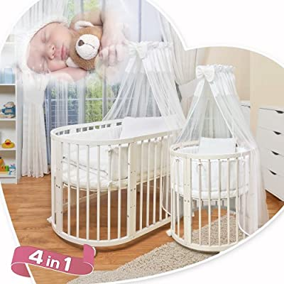 ComfortBaby © 4 in 1 - Baby / Child / Junior Bed - Made of Natural Solid Beechwood- used as a crib, playpen, bed, including Sky, covers, blankets, mattresses, bumper and many more. ALL INCLUSIVE