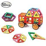 ColorGo 立体 パズル マグブロック 図形つみき 子供用 磁石 積み木 キューブ セット(50ピース) 車輪 2個付き 創造力と想像力を育てる 幼児 知育玩具 お誕生日、進学お祝いプレゼント