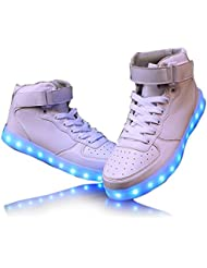 Monika Creations Unisex USB Rechargeable White High Top LED Simulation Shoes Sneaker - Light Up Your Personality