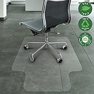 Office Marshal Eco-Series Chair Mat with Lip for Hard Floors, Translucent, 100% Recycled (PET), Environmentally Friendly