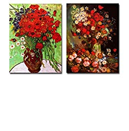 Famous Oil Painting Reproduction/ Replica Set of 2 -Vase with Poppies?Cornflowers & Red Poppies and Daisies by Van Gogh Canvas Prints Wall Art/Ready to Hang Wrapped Canvas - 16\