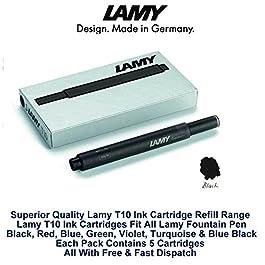 Lamy T10 Noir Cartouches d'encre pour stylo-plume de rechange pour toutes les recharges Lamy Fountian à 9,53 mm 20-100 Lot de cartouches d'encre)