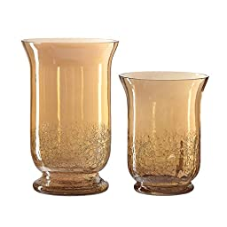 Amici Augustine Hurricane Candle Holder, Amber - Set of 2
