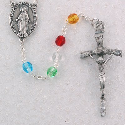 6mm Bead Multi Color Crystal Mission Rosary, Boxed