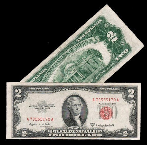 Series 1953 Red Seal Two () Dollar U.S. Note Old Paper Money