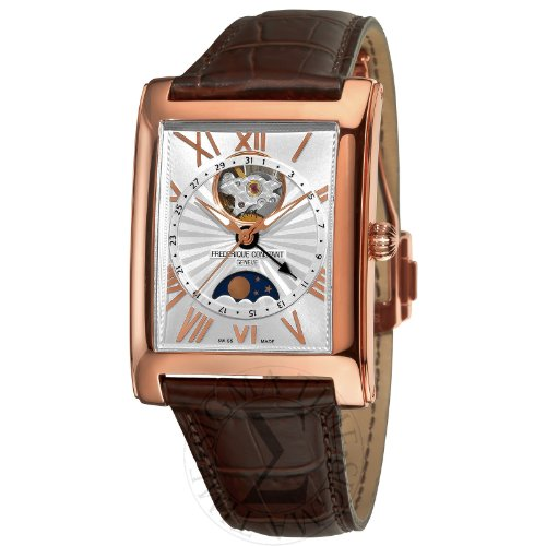 ***LIMITED EDITION***Frédérique Constant ROSE GOLD PLATED Men's Carree MOONPHASE DATE WATCH With CLEAR BACK and DEPLOYMENT BUCKLE . Made in Switzerland