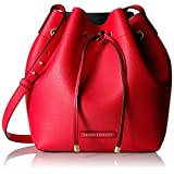 A|X Armani Exchange Petite Faux Leather Bucket Bag, Absolute Red/Navy