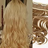Rrimin Practical Hair Extension Human Hair Wigs Curly Clip Multi-Colour Optional Artificial Hair Beauty Style For Women 1.80-1.97 Foot (Blonde)