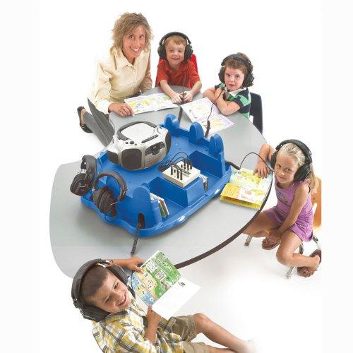 Califone 1776Plc6-T Spirit Audio Pod Table-Top Stereo Listening Center With Six 3068Av Stereo Headphones, Ten-Position Stereo Jackbox