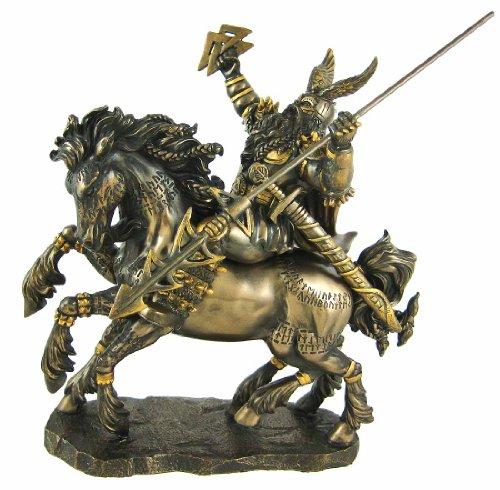 Norse God Odin Bronze Finish Statue Pagan Viking