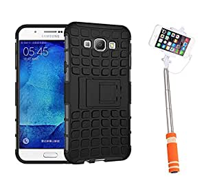 Aart Hard Dual Tough Military Grade Defender Series Bumper back case with Flip Kick Stand for Samsung A8 + Aux Wired Mini Pocket Selfie Stick by Aart store.