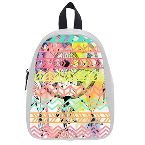 Fashion Funny Dream Catcher Aztec Tribal Hot Pink Kid'S School Bag & Backpack For Kids White front-922860