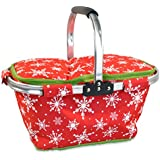 DII Insulated Market Basket or Picnic Tote for Farmers Markets and BBQ's, Grocery Shopping, Snowflakes