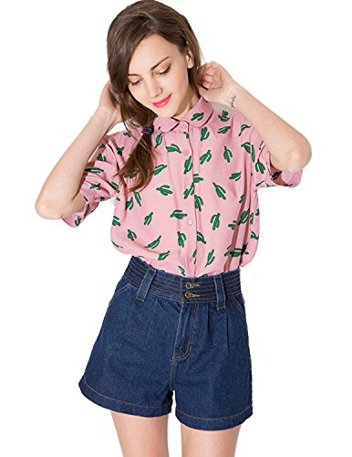 haoduoyi-womens-sweet-preppy-style-cactus-printed-dollar-collar-t-shirt-large-pink