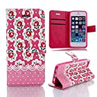 Boriyuan iphone 5S 5 Wallet Leather Case, Vintage Girly Hot Pink Rose Flower Series Cute Lovely Polka Dots Floral Colorful Ultra Portable Book Skin Magnetic Built-in Credit ID Card Money Holder Slot Protective Flip Folio PU Leather Carrying Cover with Stand Function for Apple iPhone 5S 5 5th 5g (Pattern 4)