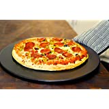 Black Ceramic 15-inch Pizza Stone by Heritage. Non-stain, professional grade - tested and used by top chefs - with Free Bonus Pizza Cutter