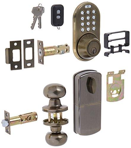 MiLocks XFK-02AQ Digital Deadbolt Door Lock and Passage Knob Combo with Keyless Entry via Remote Control and Keypad Code for Exterior Doors, Antique Brass