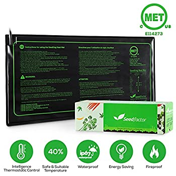 MET certified Seedling Heat Mat, Seedfactor Waterproof Durable Germination Station Heat Mat, Warm Hydroponic Heating Pad for Indoor & Outdoor Home Gardening Seed Starter(10