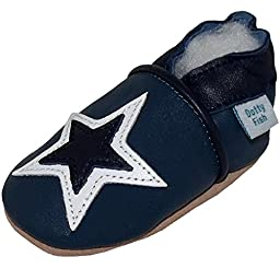 Dotty Fish Baby Boys Soft Leather Shoe with Suede Soles Navy White Star 0-6 Months to 3-4 Years