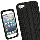 IGadgitz Black Silicone Skin Case Cover with Tyre Tread Design for Apple iPod Touch iTouch 5th Generation 5G 32GB 64GB + Screen Protector