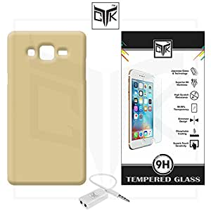 TheGiftKart™ Combo For Samsung Galaxy On5 PRO (Combo of 1 Back Cover + 1 Tempered Glass + 1 Audio Splitter) - TheGiftKart™ Ultra Premium Matte Rubberized Velvet Feel Hard Back Cover (Golden) + Premium HD Tempered Glass Screen Protector With Rounded Edges + Audio Splitter
