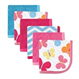 Luvable Friends Washcloths 6-Pack, Pink Butterflies