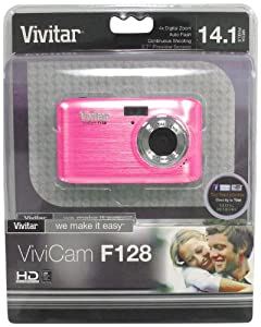 Vivitar VF128-PNK 14.1MP HD Digital Camera with 2.7-Inch LCD - Body Only (Pink)