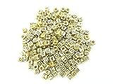アルファベット ビーズ 6mm×6mm キューブ型 (ゴールド,40g)