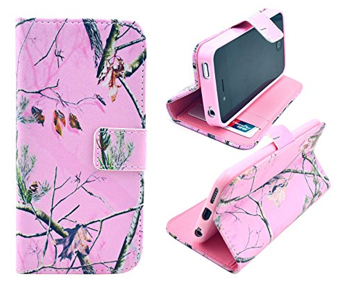 iphone 6 Plus Case 55 - Tree Camo Flip Wallet Credit ID Card Slot Holder Phone Case With Stand --Retail Package W Screen Protector --Pink
