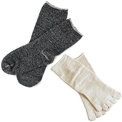hiorie(ヒオリエ) 冷えとり靴下 内絹外綿ソックス 2足セット 5本指・カバーソックス <Mサイズ> 日本製 シルク 杢チャコール