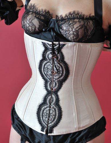 Velda Lauder Cream Silk and Black Lace Underbust Corset 20