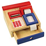 Santoys - Wooden Toys - Food & Shop Role Play - Cash Register / Machine with Real Calculator